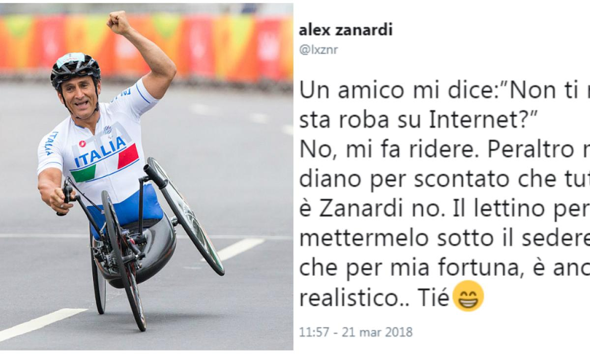 """Alex Zanardi replica con ironia al meme offensivo: """"Potevano ..."""