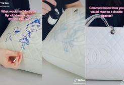 Bimba disegna con un pennarello sulla borsa Chanel da 2300 euro della mamma