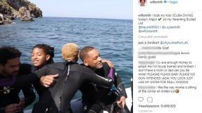 Will Smith, immersione alle isole Eolie con i suoi tre figli