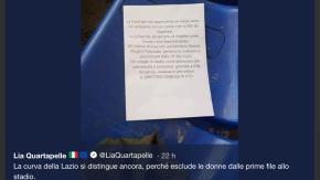 Lazio, volantino contro le donne in Curva Nord: «Non sedetevi nelle prime file»