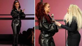 Rihanna premia Mary J. Blige ai BET Awards in un sexy abito di pelle