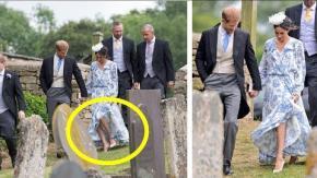 Meghan Markle con l'abito con lo spacco ruba la scena al matrimonio della nipote di Diana