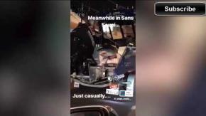 Dalla macchina spunta uno squalo gigante: il video shock
