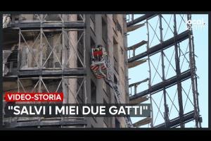 I pompieri salvano anche alcuni gattini dal palazzo distrutto di torre dei Moro