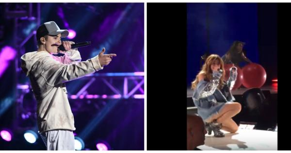 Selena Gomez imita Justin Bieber: anche per lei caduta dal palco