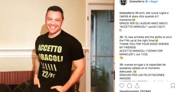"""Tiziano Ferro, il nuovo album si intitolerà """"Accetto miracoli"""""""