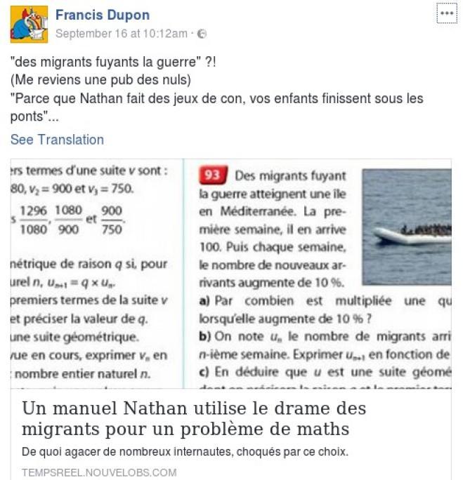 Francia, il testo scolastico di matematica: