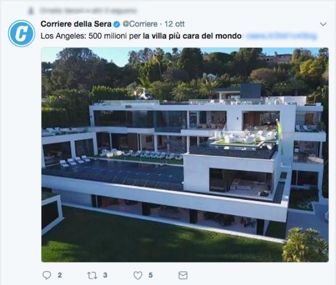 A los angeles la villa pi cara del mondo in vendita a for Migliore casa del mondo in vendita