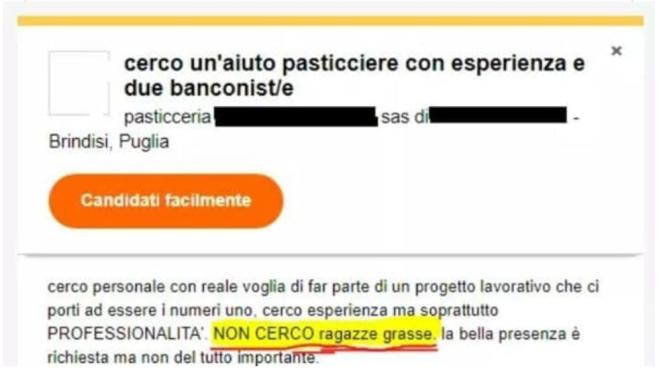Non cerco ragazze grasse annuncio di lavoro fa for Cerco sito internet