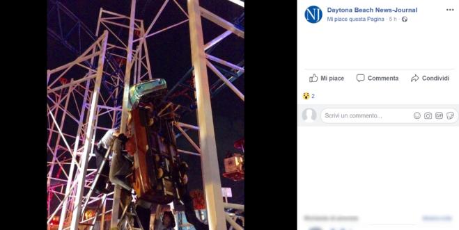 Deraglia un ottovolante a Daytona Beach: sei feriti, due sono gravissimi