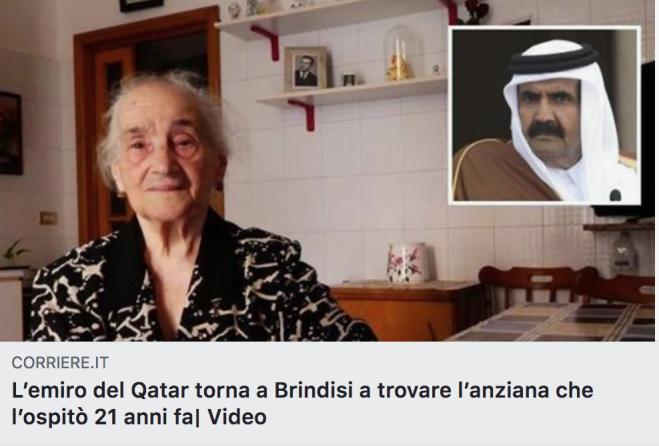 L'emiro del Qatar sbarca a Brindisi per salutare nonna Teresa