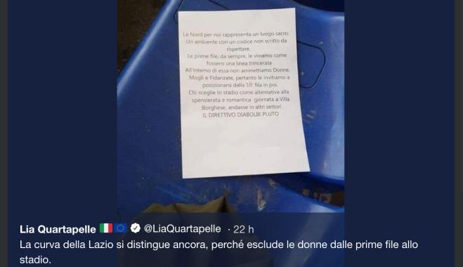 Lazio Volantino Contro Le Donne In Curva Nord Non Sedetevi Nelle Prime File