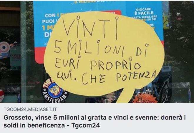 Vince 5 Milioni Al Gratta E Vinci Donerà Parte Dei Soldi In