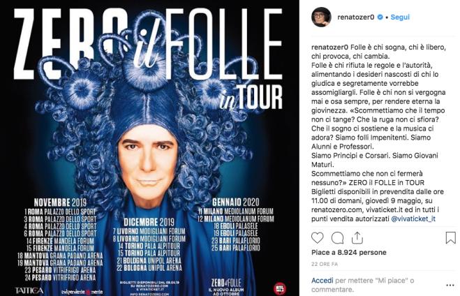Renato Zero, un tour e un nuovo album