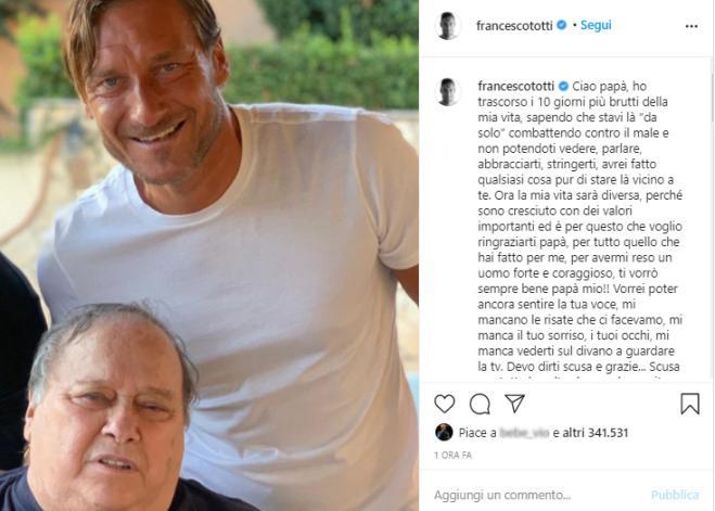 Lutto in casa Totti: è morto Enzo, il papà di Francesco - Sportmediaset