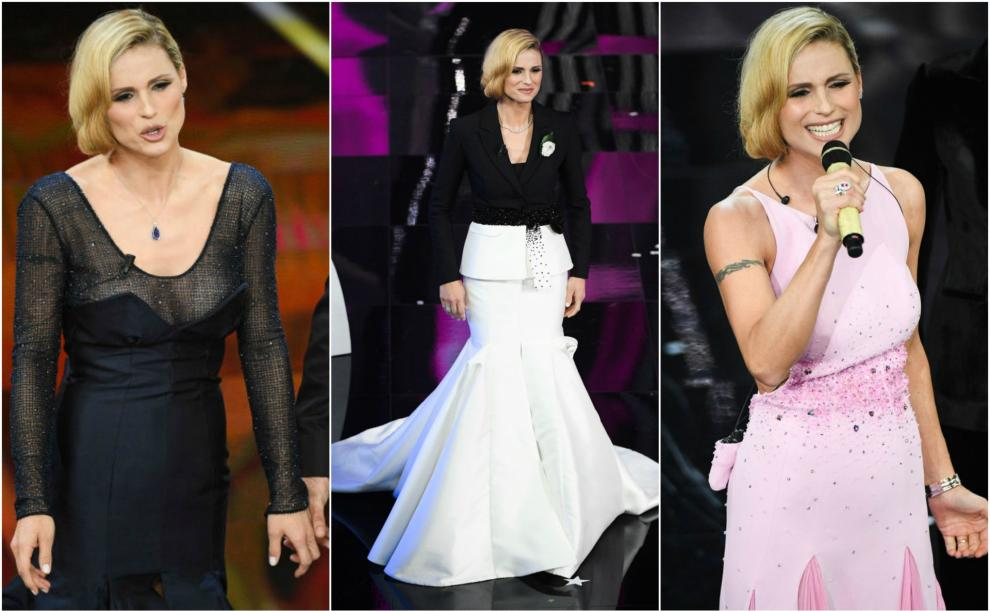 635dbbb369 Michelle Hunziker indossa Trussardi a Sanremo, critiche sui social ...