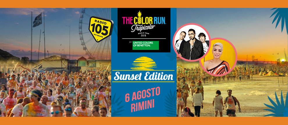 """Color Run """"Sunset Edition"""": prossima tappa il 6 agosto a Rimini con Gli Autogol ed Elodie live"""