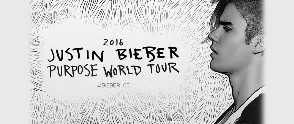 "Justin Bieber: con Radio 105 al ""Purpose World Tour"""