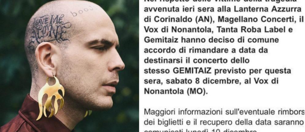 Gemitaiz, data sospesa dopo la tragedia nella discoteca di Ancona