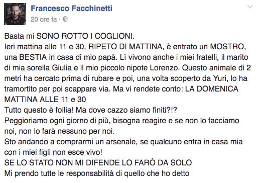 Francesco Facchinetti, rapina in casa:
