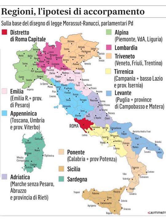 Cartina Italia Regioni E Confini.Come Sarebbe L Italia Se Avesse Solo 12 Regioni La Proposta Politica Venne Fatta Nel 2012 Radio 105