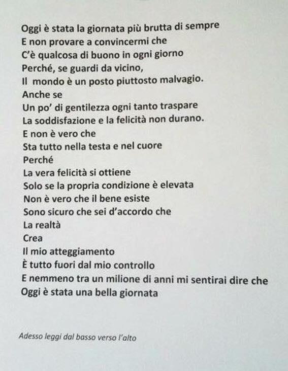 Favorito Provate a leggere questa poesia dall'alto verso il basso e  HG19